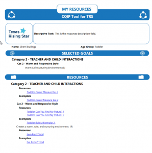 My Resources Report for TRS CQIP Tool